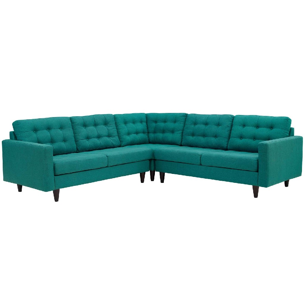 East End Upholstered Fabric Sectional Sofa Set Tea