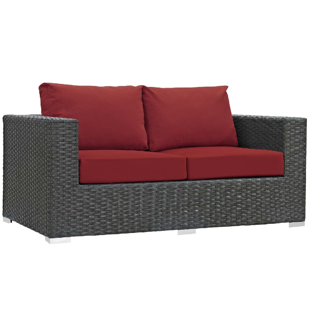 East End Sojourn Outdoor Patio Sunbrella Loveseat Chc Red
