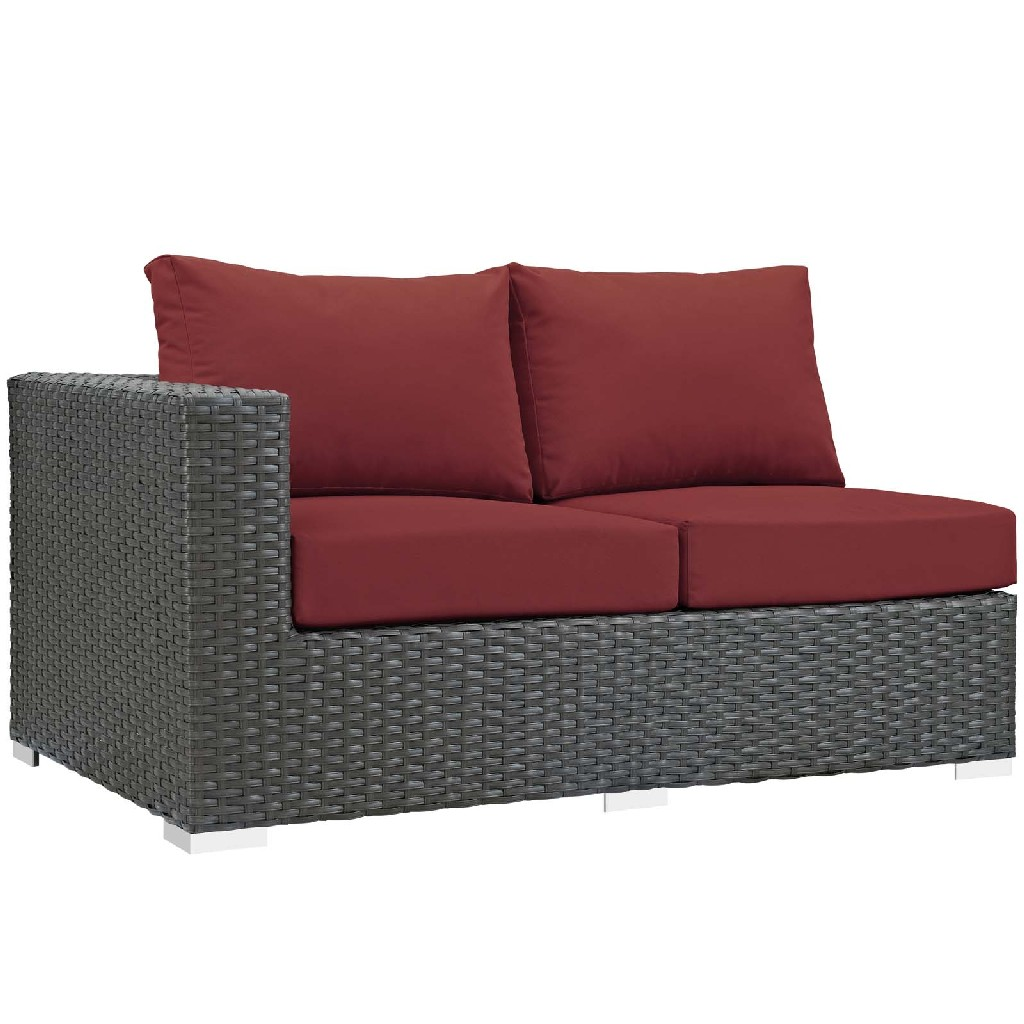 East End Imports Outdoor Patio Sunbrella Left Arm Loveseat Chc Red