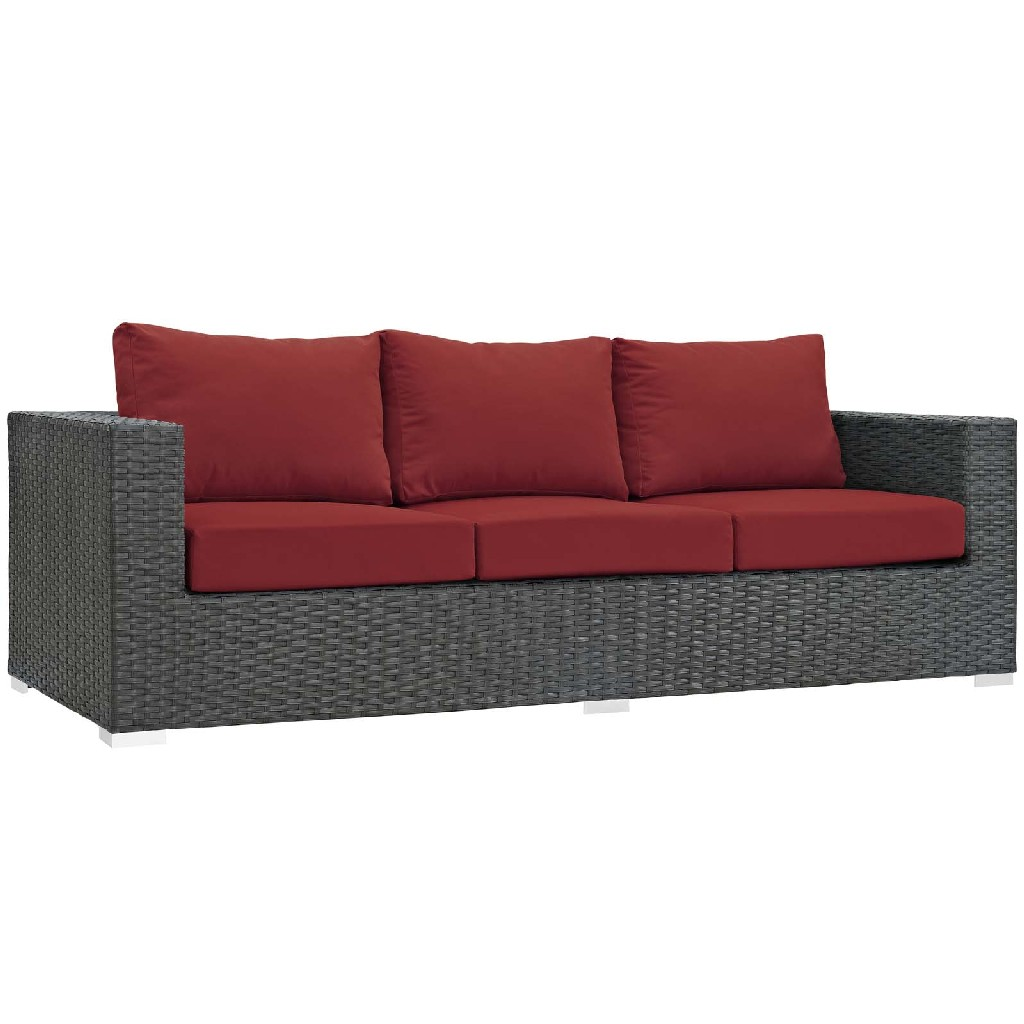 East End Sojourn Outdoor Patio Sunbrella Sofa Chc Red