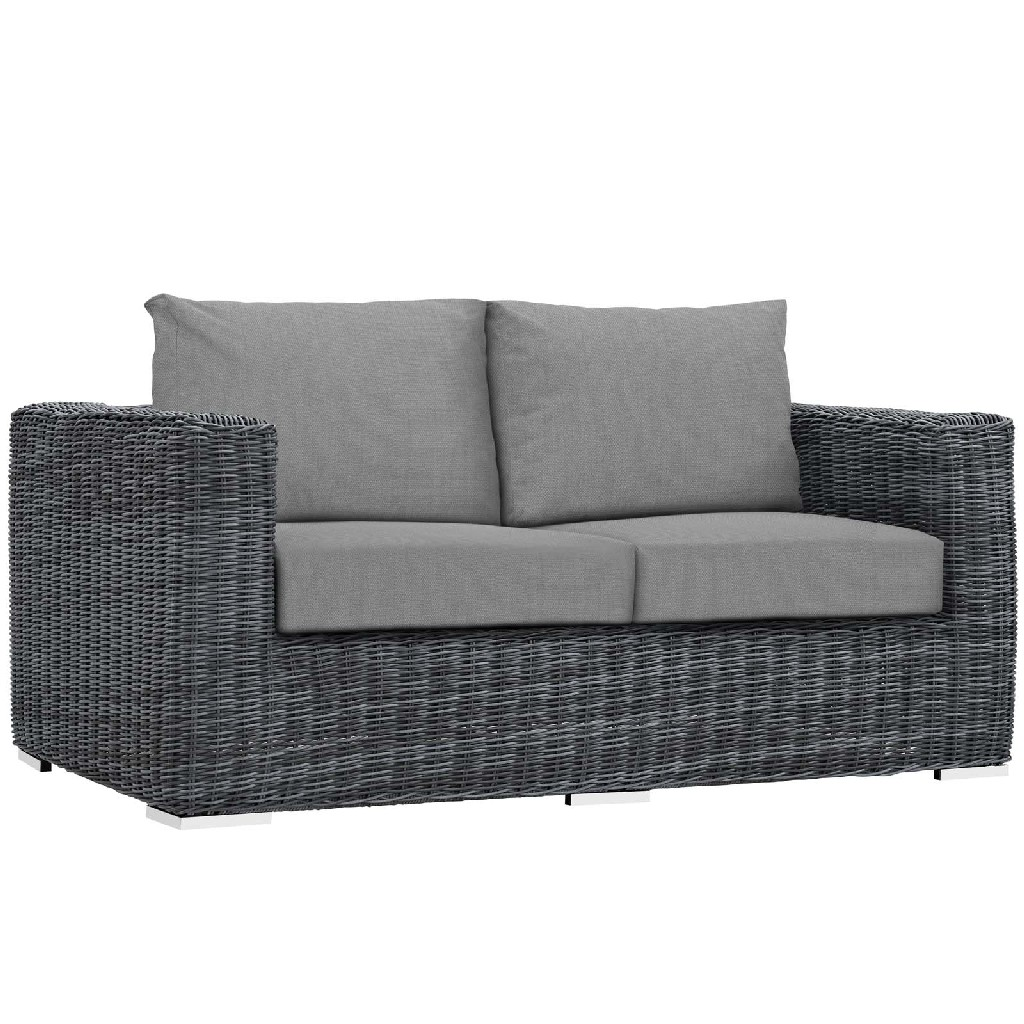 East End Outdoor Patio Sunbrella Loveseat Gry Gry