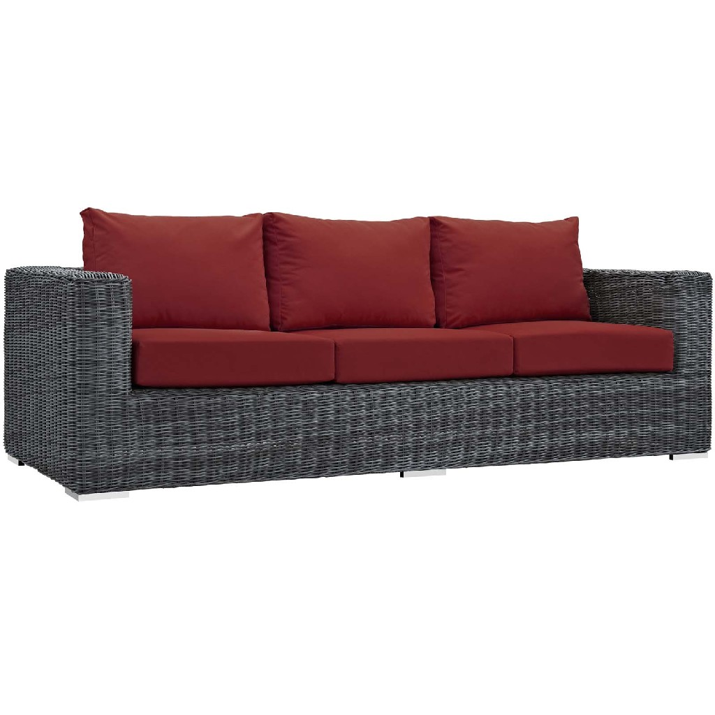 East End Outdoor Patio Sunbrella Sofa Gry Red