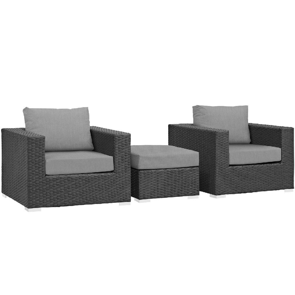 East End Sojourn Outdoor Patio Sunbrella Sectional Set Chc Gry Set
