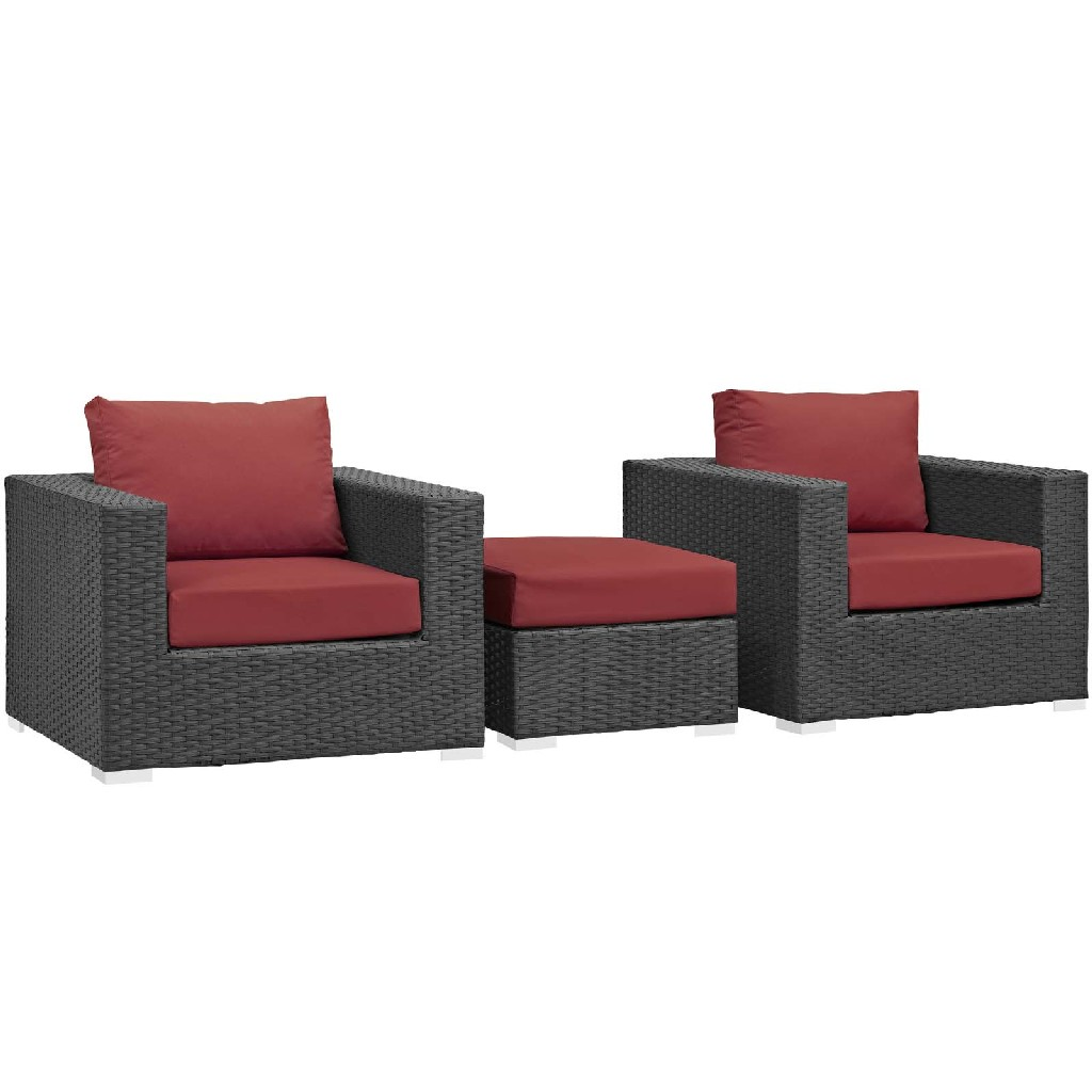 East End Sojourn Outdoor Patio Sunbrella Sectional Set Chc Red Set
