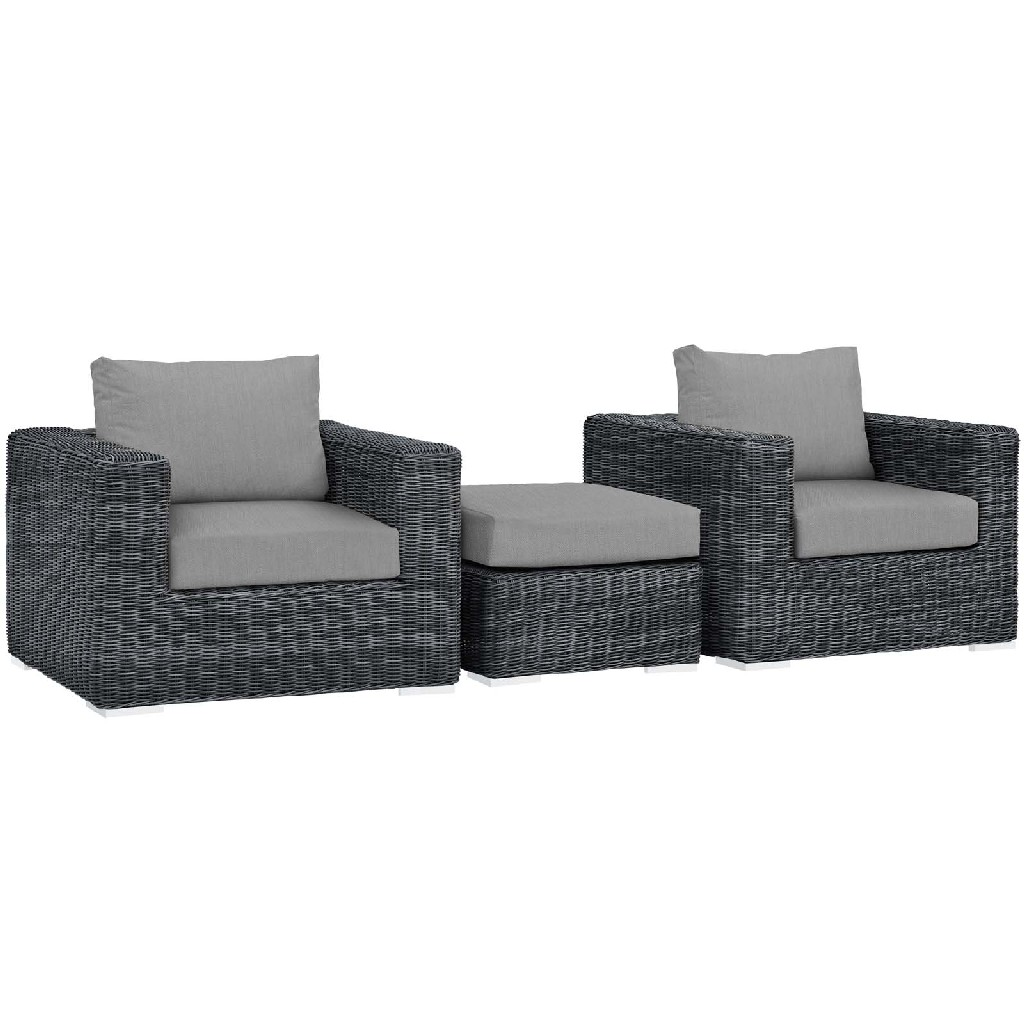 East End Outdoor Patio Sunbrella Sectional Set Gry Gry Set