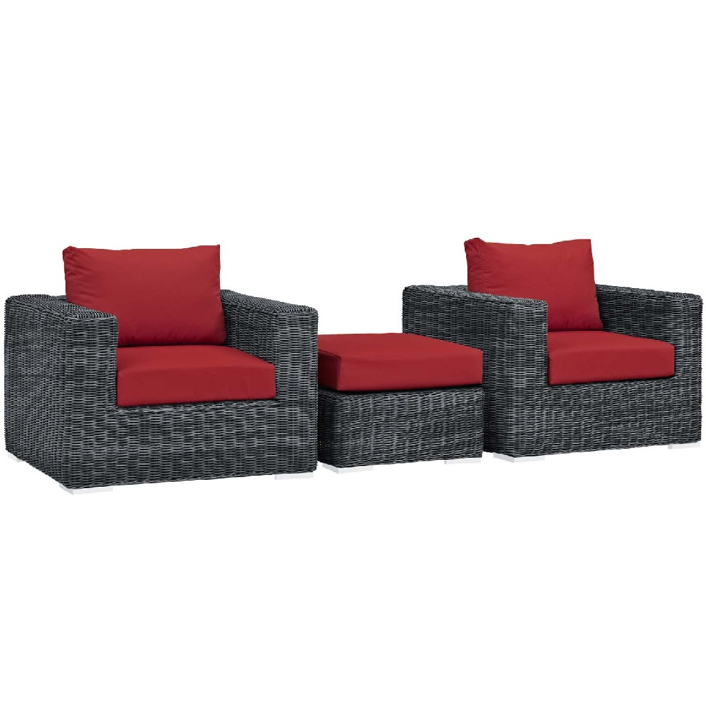 East End Outdoor Patio Sunbrella Sectional Set Gry Red Set