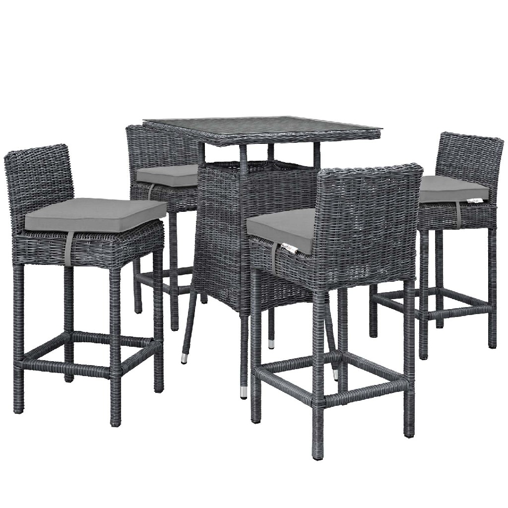 East End Outdoor Patio Sunbrella Pub Set Gry Gry Set