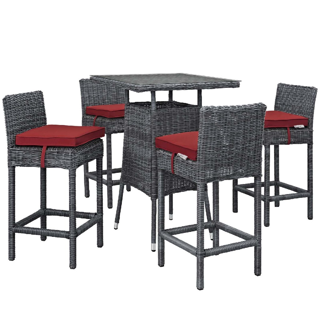 East End Outdoor Patio Sunbrella Pub Set Gry Red Set