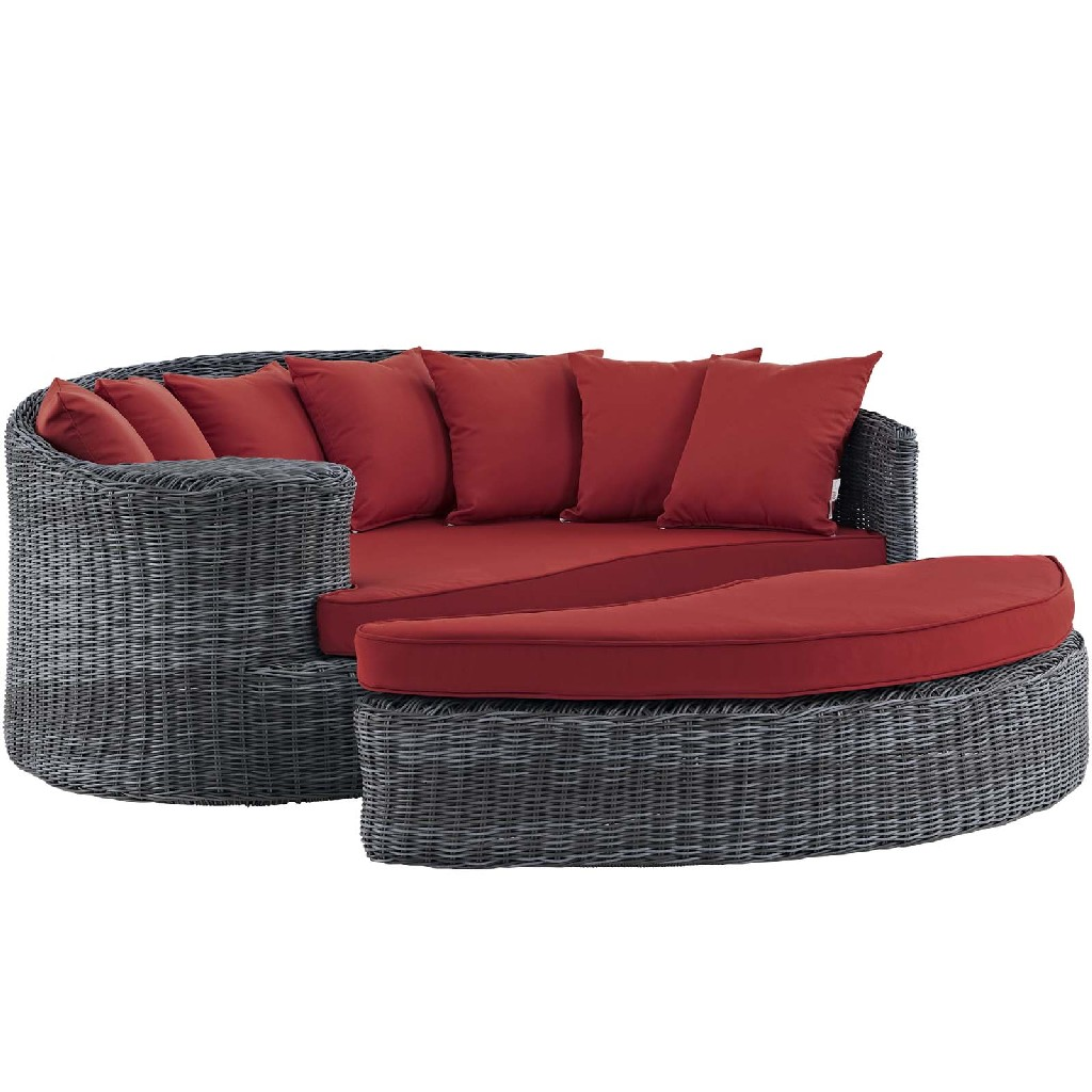 East End Outdoor Patio Sunbrella Daybed Gry Red