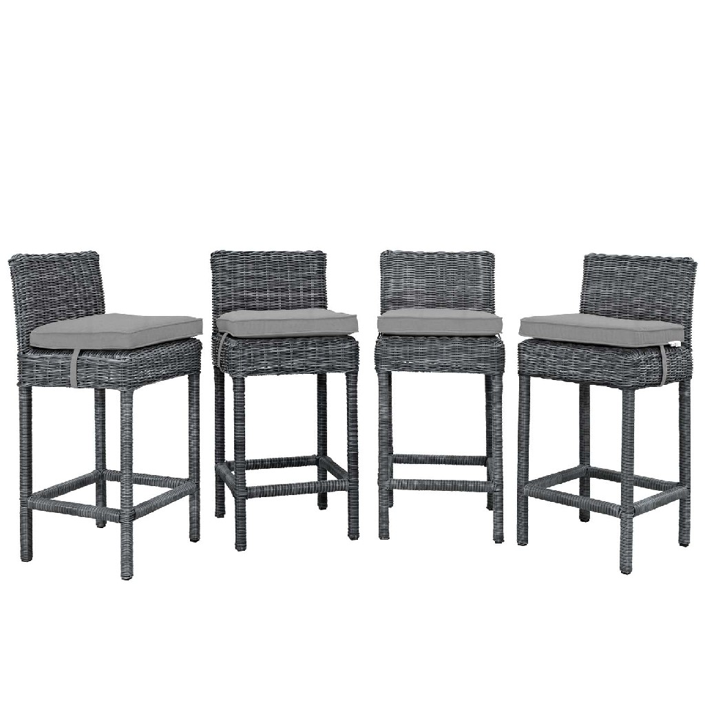 East End Bar Stool Outdoor Patio Sunbrella Gry Gry Set