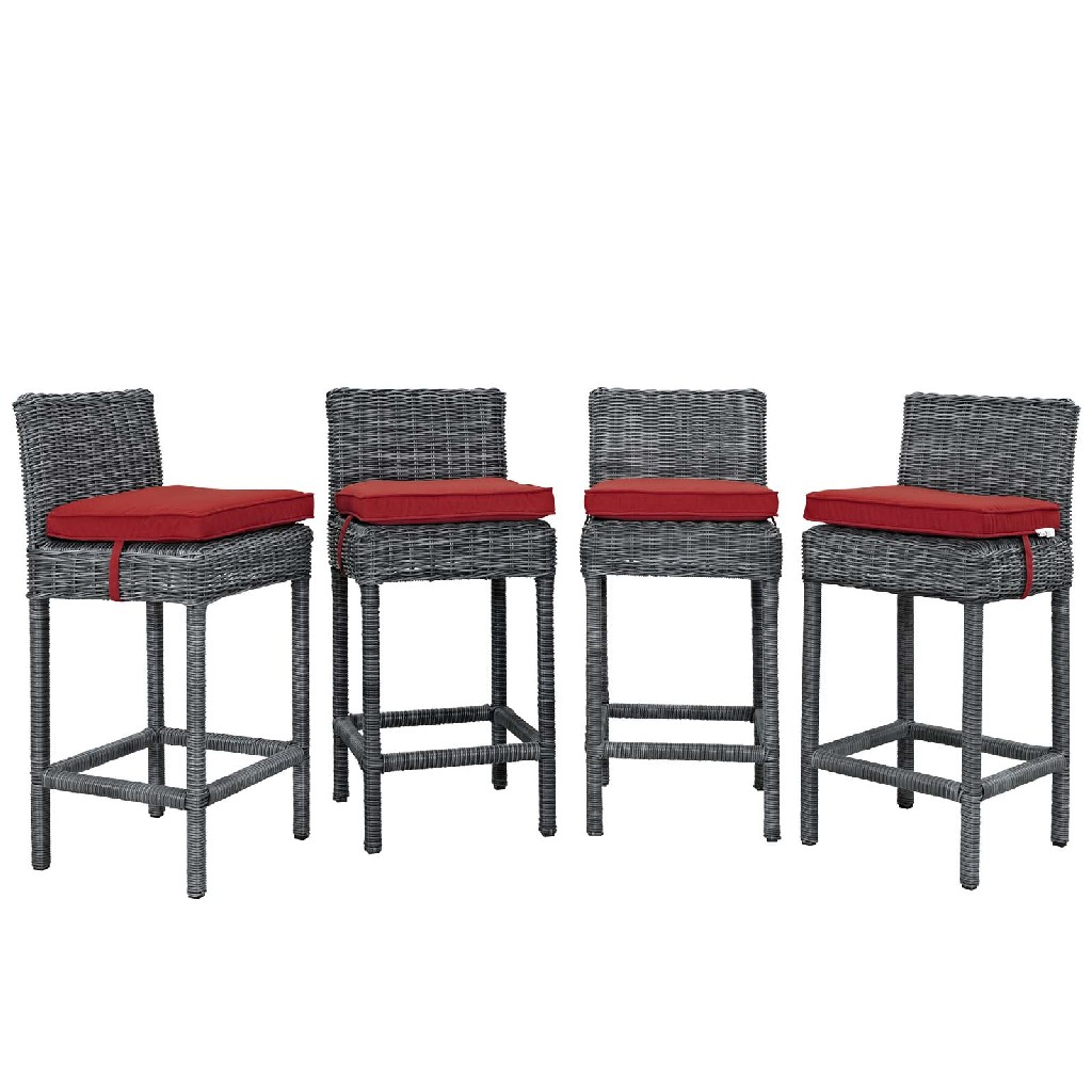 East End Bar Stool Outdoor Patio Sunbrella Gry Red Set