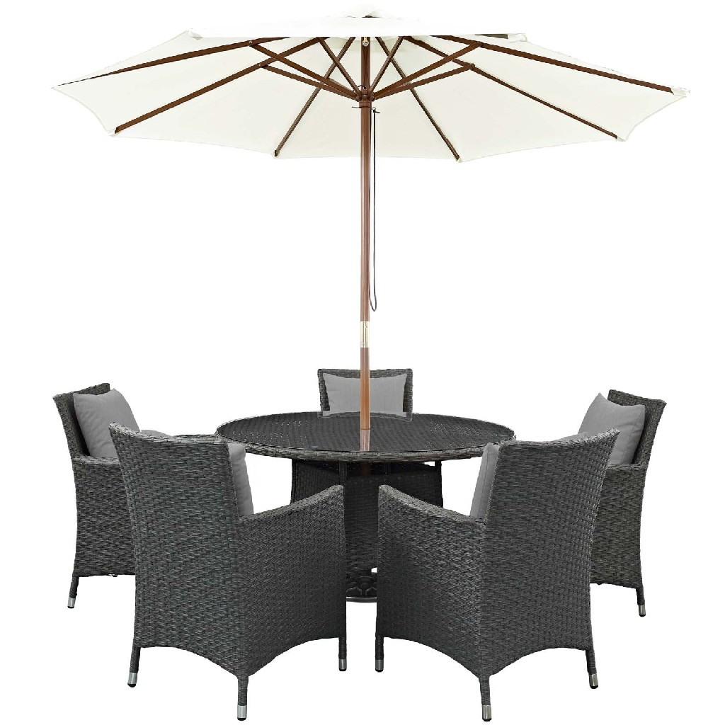 East End Sojourn Outdoor Patio Sunbrella Dining Set Chc Gry Set