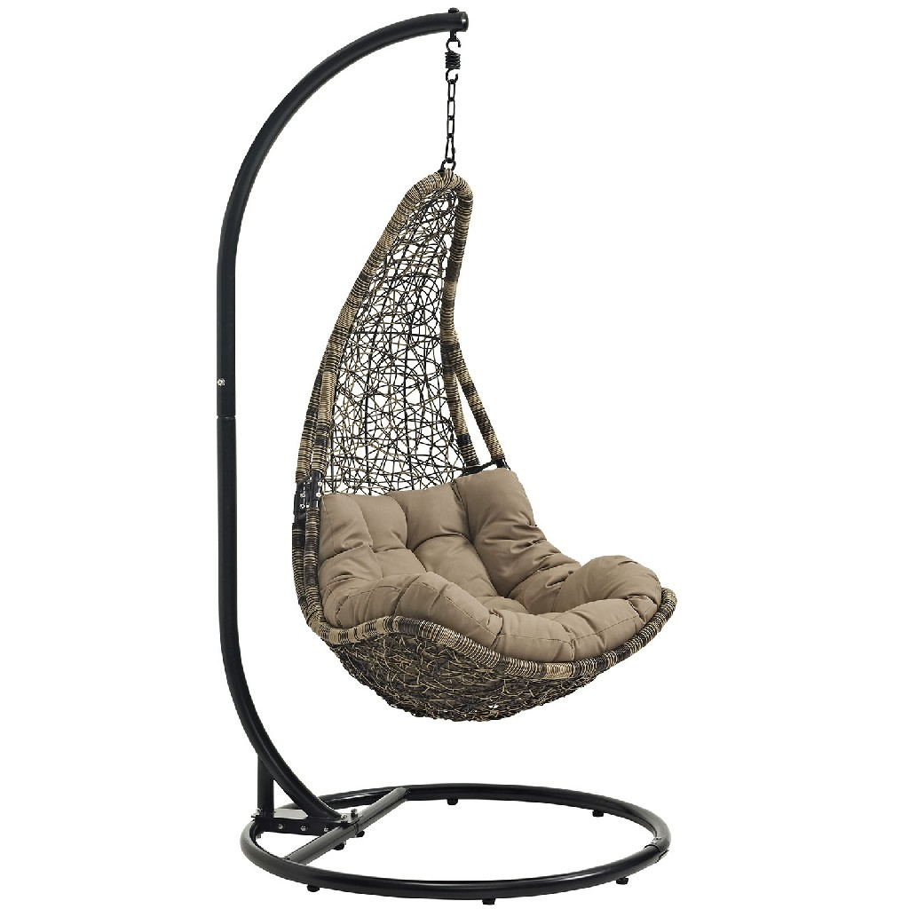 Abate Outdoor Patio Swing Chair With Stand EEI-2276-BLK-MOC-SET