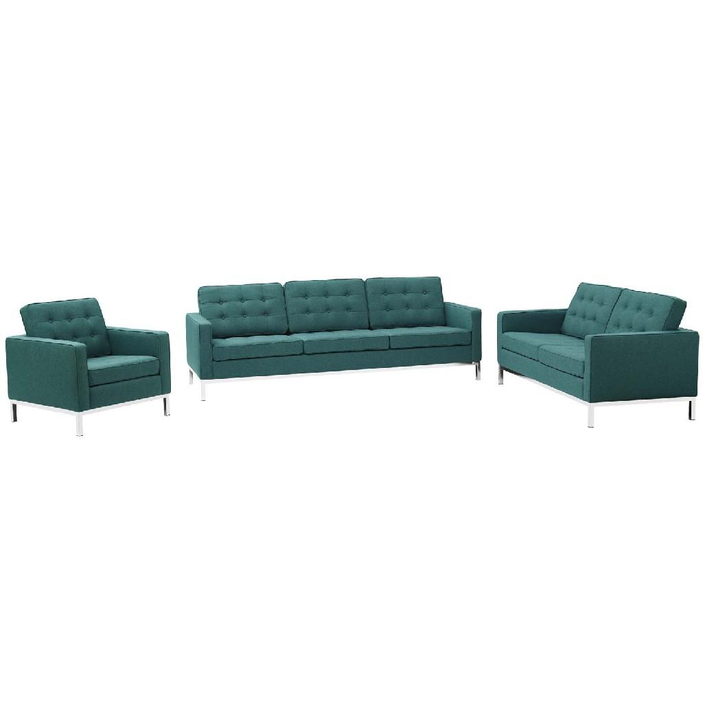 East End Loft Upholstered Fabric Sofa Loveseat Armchair Set Tea Set