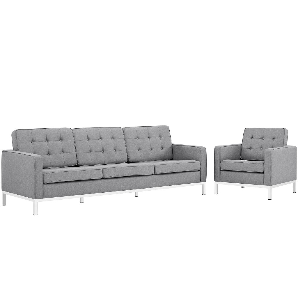 East End Imports Upholstered Fabric Sofa Armchair Set Set