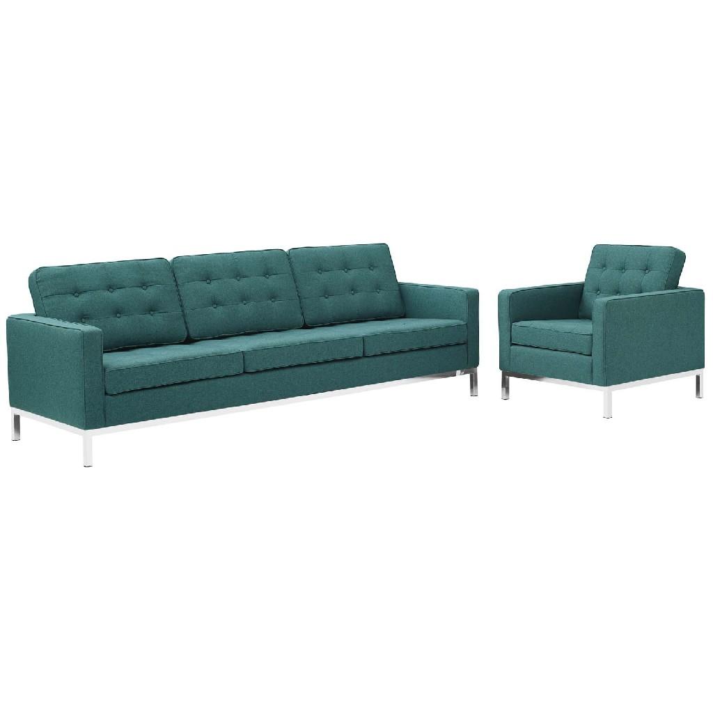East End Imports Upholstered Fabric Sofa Armchair Set Tea Set