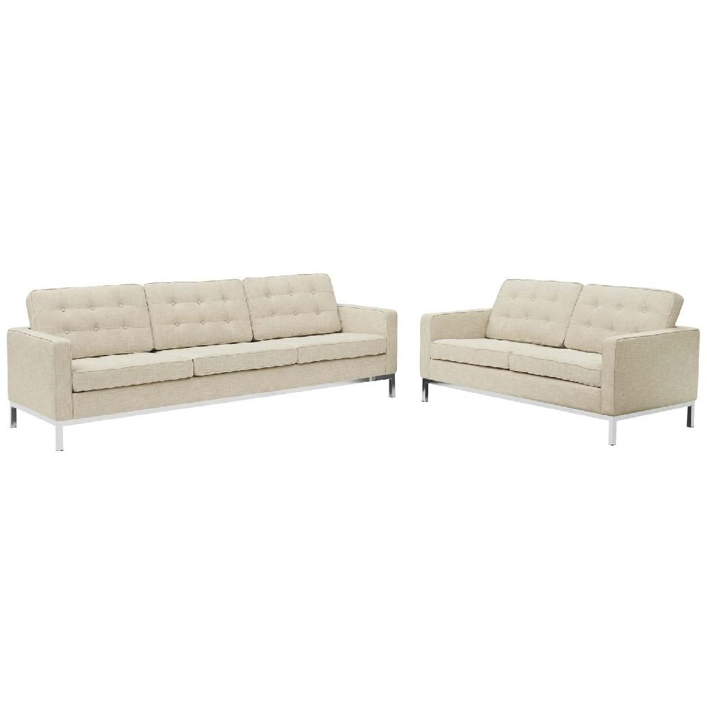 East End Loft Upholstered Fabric Sofa Loveseat Set Bei Set
