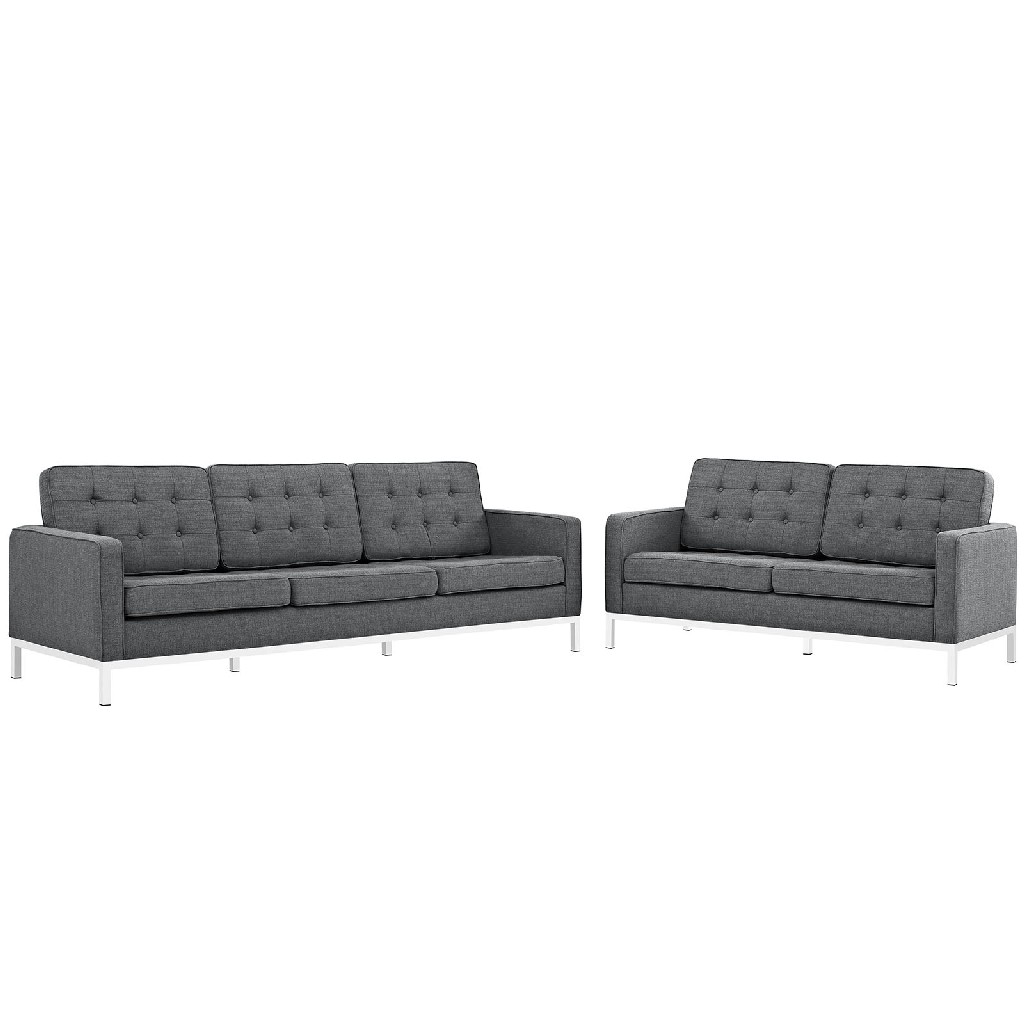 East End Loft Upholstered Fabric Sofa Loveseat Set Dor Set