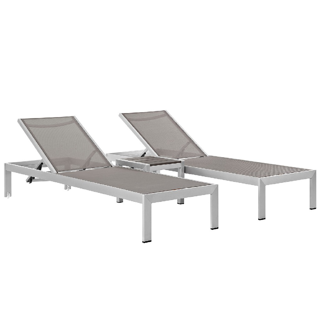 East End Outdoor Patio Aluminum Set Slv Gry Set