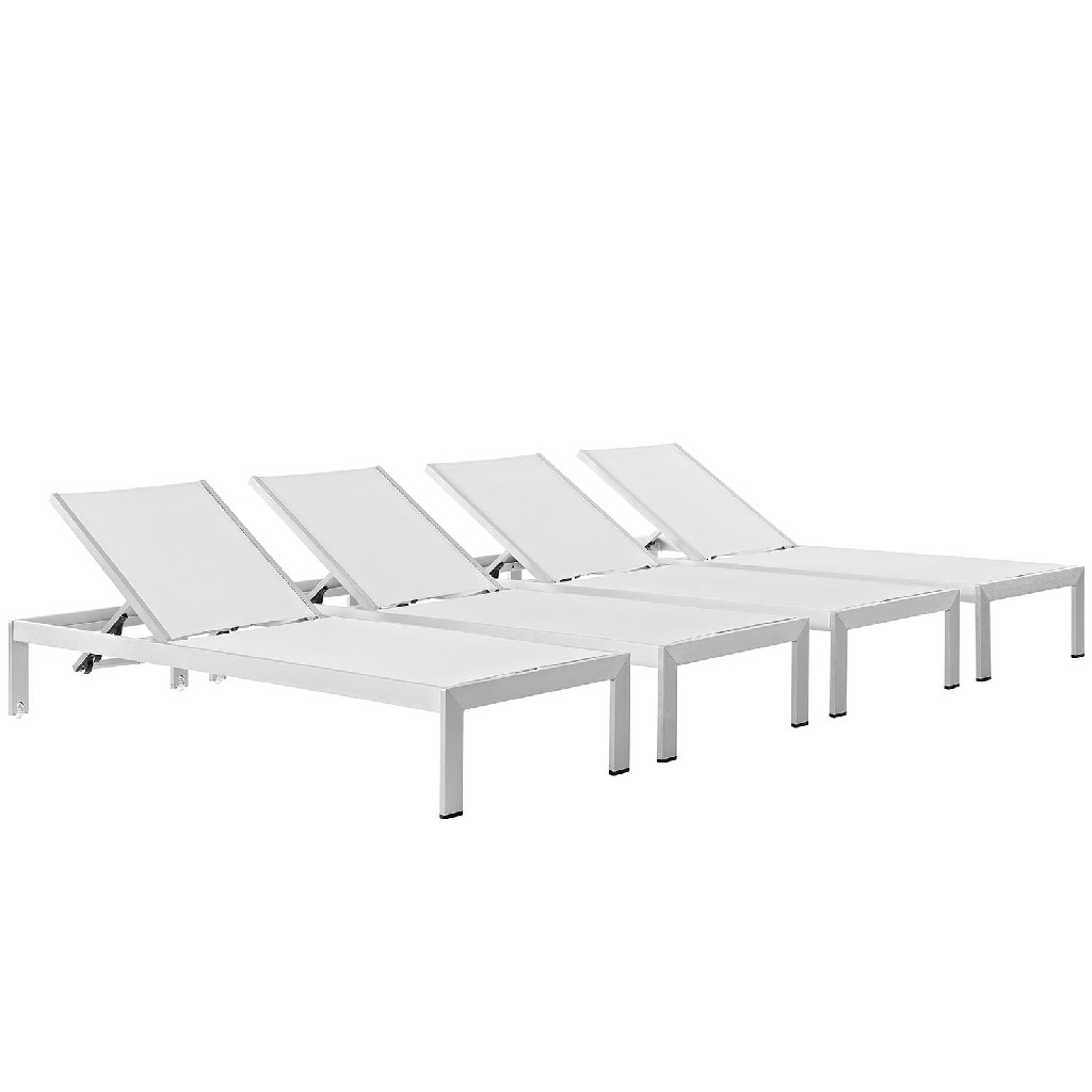 East End Chaise Outdoor Patio Aluminum Slv Whi Set