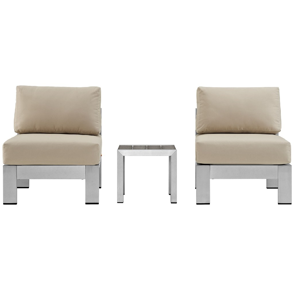 East End Outdoor Patio Aluminum Sectional Sofa Set Slv Bei
