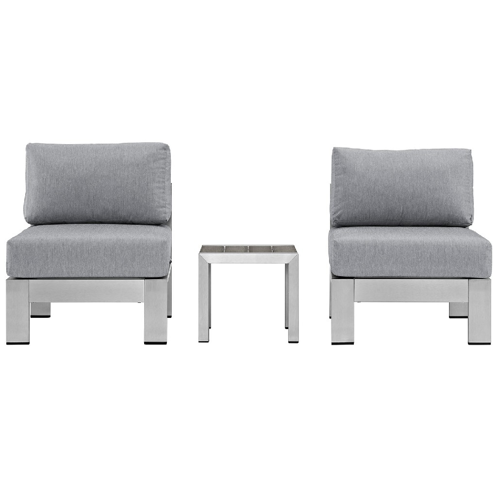 East End Outdoor Patio Aluminum Sectional Sofa Set Slv Gry
