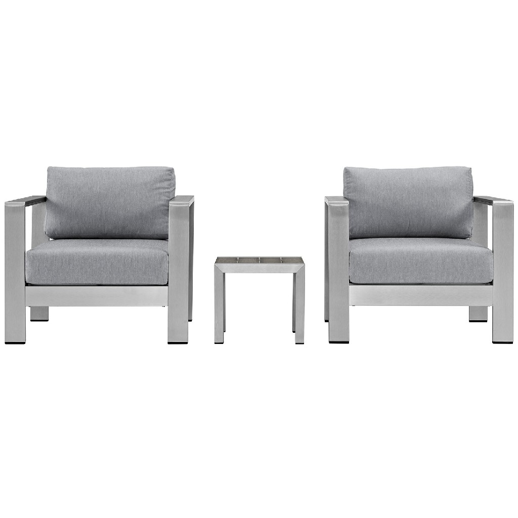 East End Outdoor Patio Aluminum Set Slv Gry