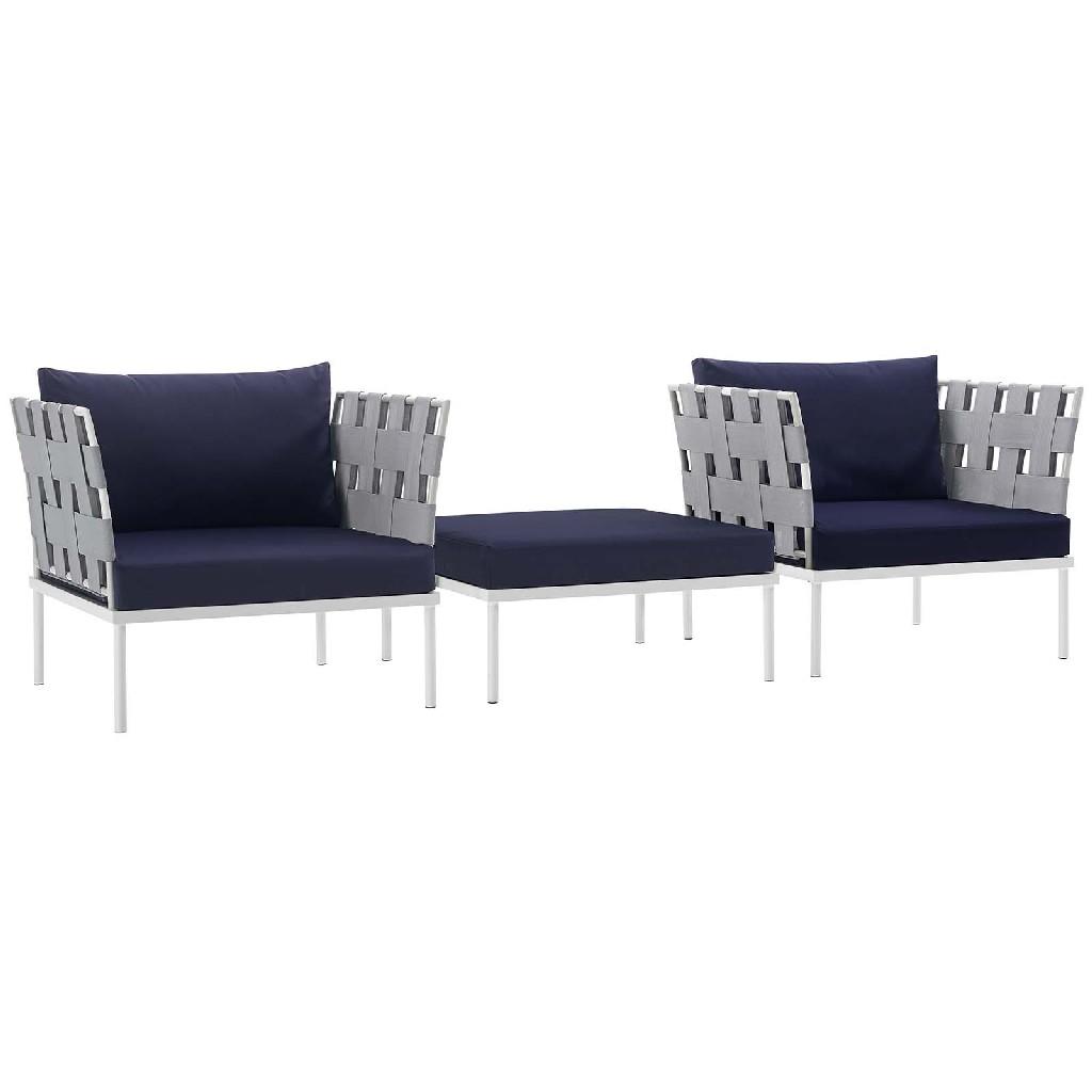 East End Harmony Outdoor Patio Aluminum Sectional Sofa Set Whi Nav Set