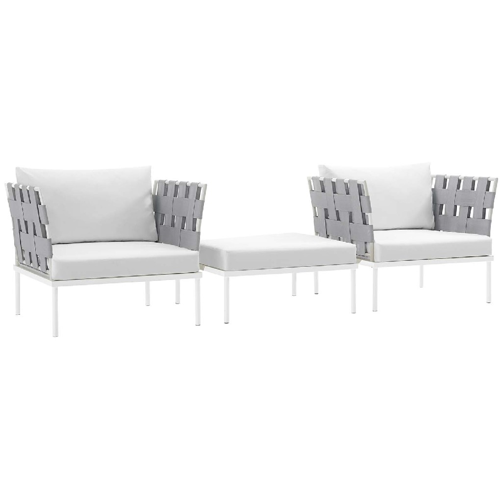East End Harmony Outdoor Patio Aluminum Sectional Sofa Set Whi Whi Set