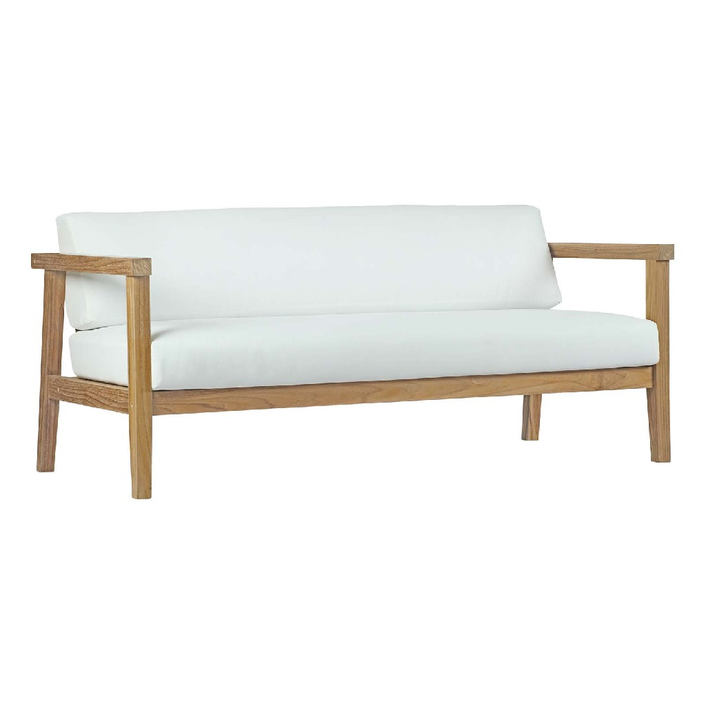 East End Bayport Outdoor Patio Teak Sofa Nat Whi