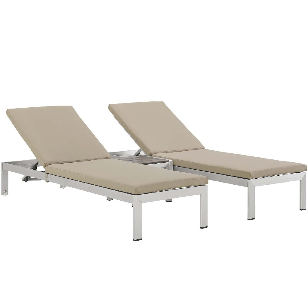 East End Outdoor Patio Aluminum Chaise Cushions Slv Bei Set