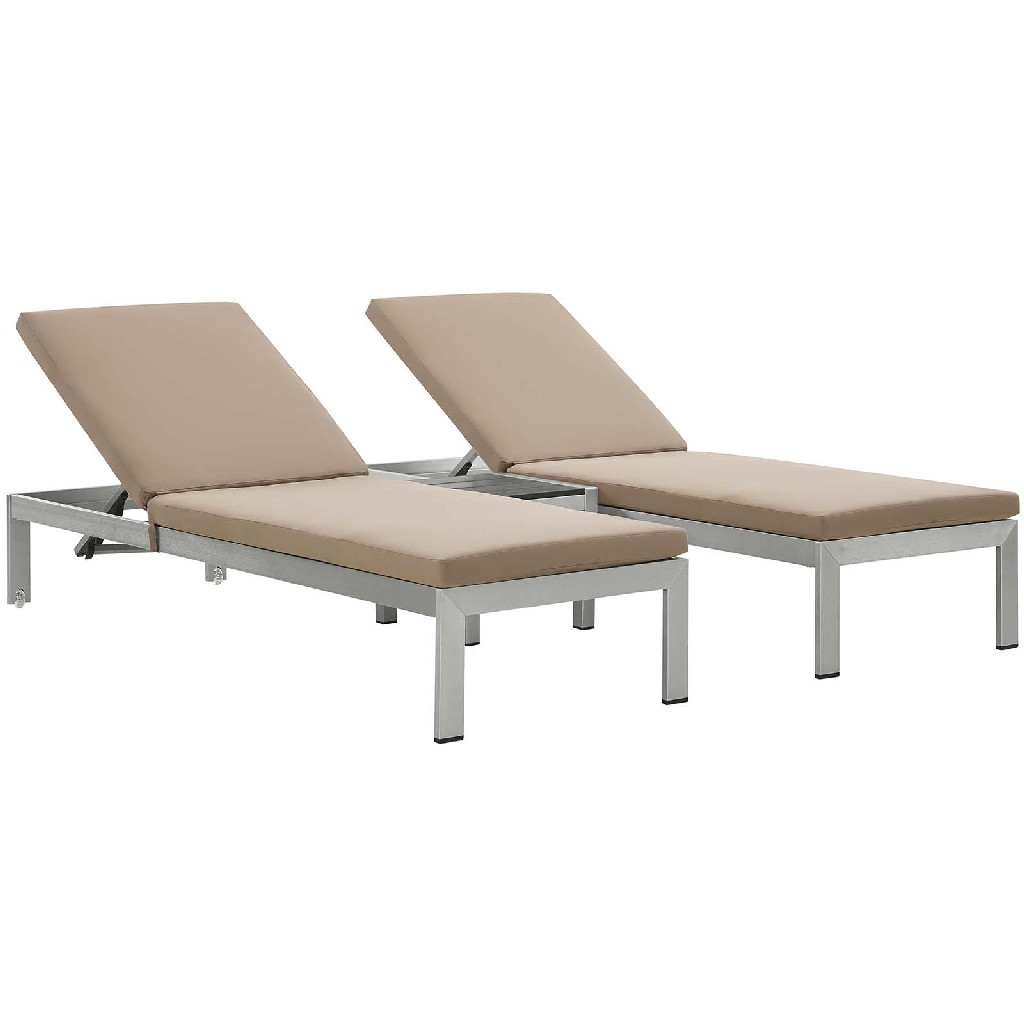 East End Outdoor Patio Aluminum Chaise Cushions Slv Moc Set