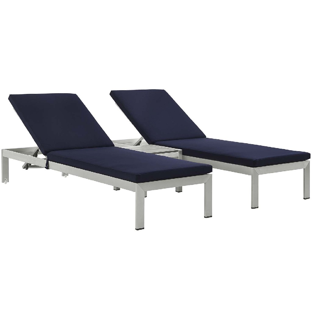 East End Outdoor Patio Aluminum Chaise Cushions Slv Nav Set