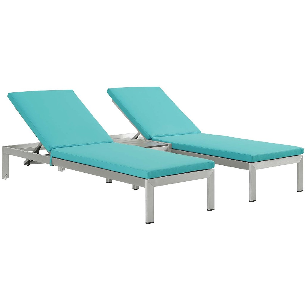 East End Outdoor Patio Aluminum Chaise Cushions Slv Trq Set