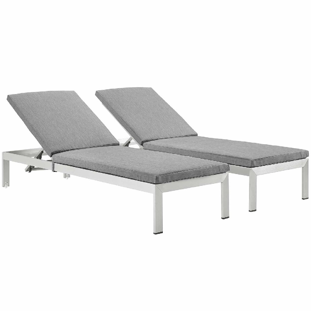 East End Chaise Cushions Outdoor Patio Aluminum Slv Gry Set