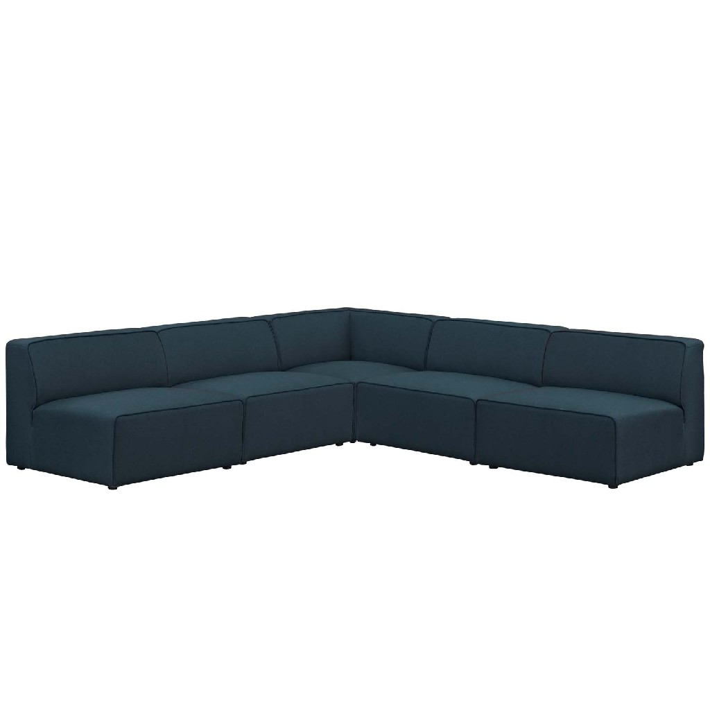 East End Mingle Upholstered Fabric Armless Sectional Sofa Set Blu