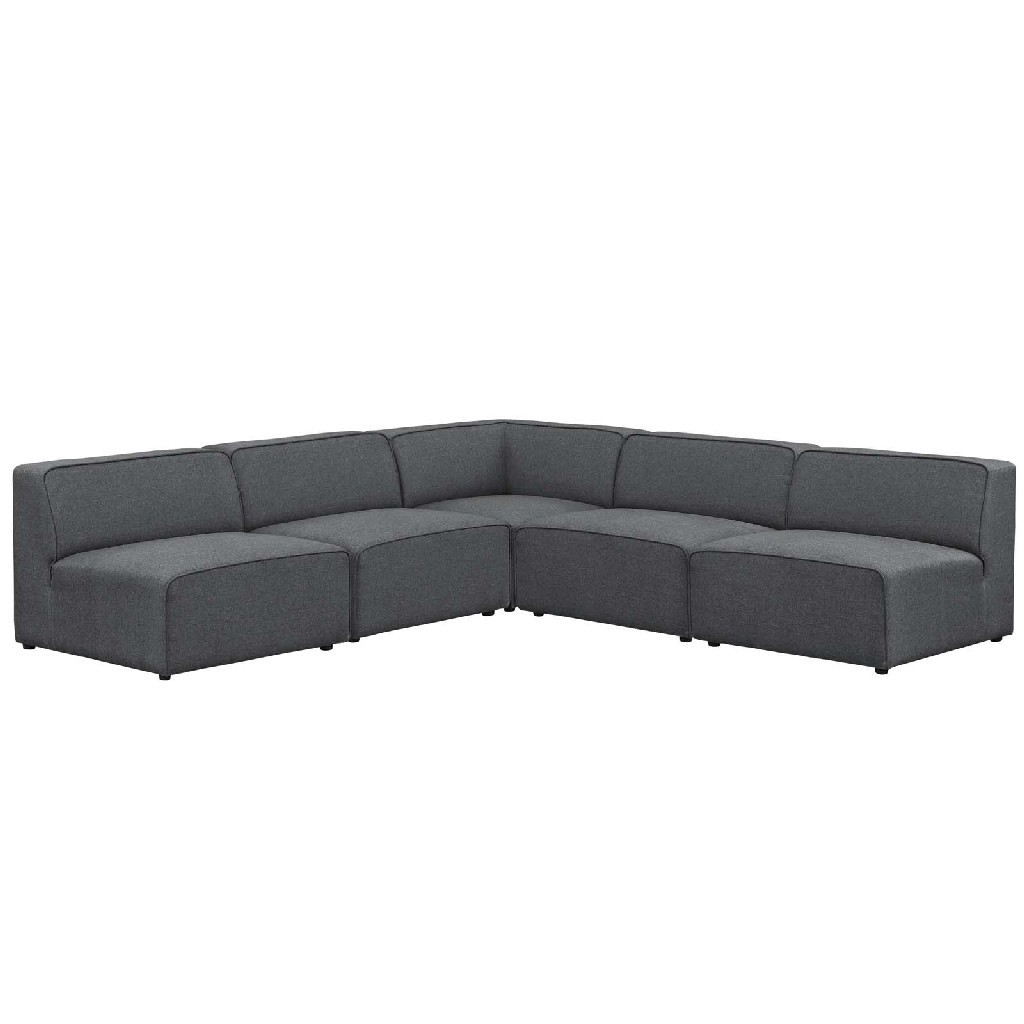 East End Mingle Upholstered Fabric Armless Sectional Sofa Set Gry