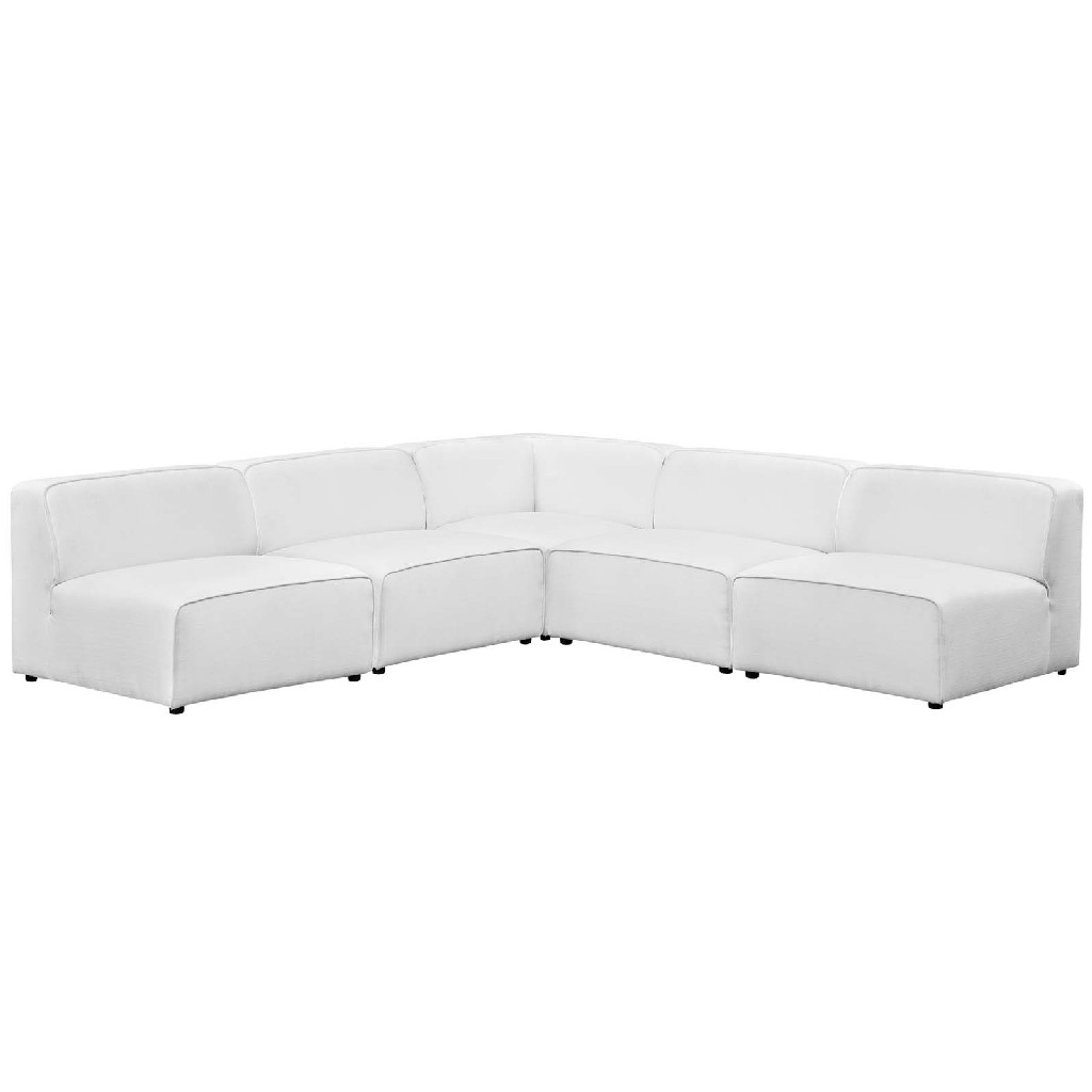 East End Mingle Upholstered Fabric Armless Sectional Sofa Set Whi
