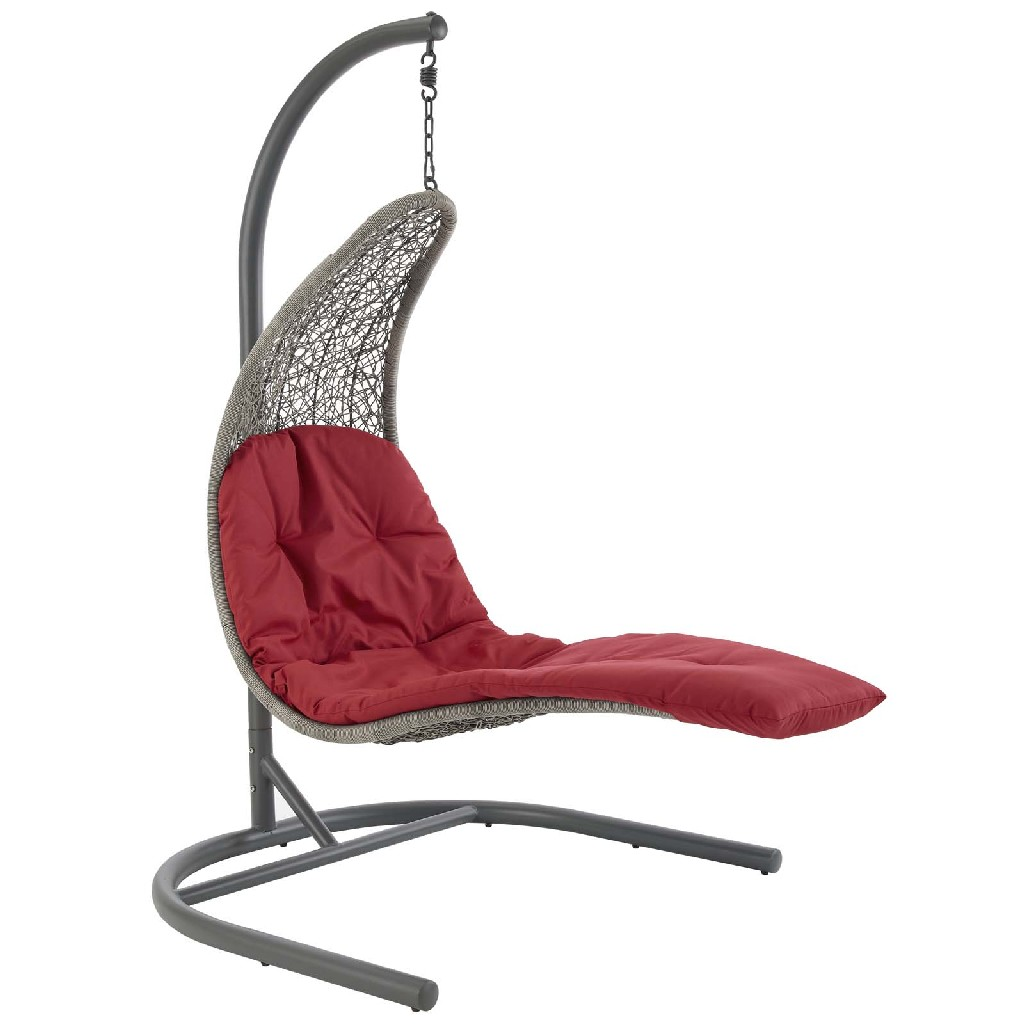 East End Imports Hanging Chaise Lounge Patio Swing Chair Red