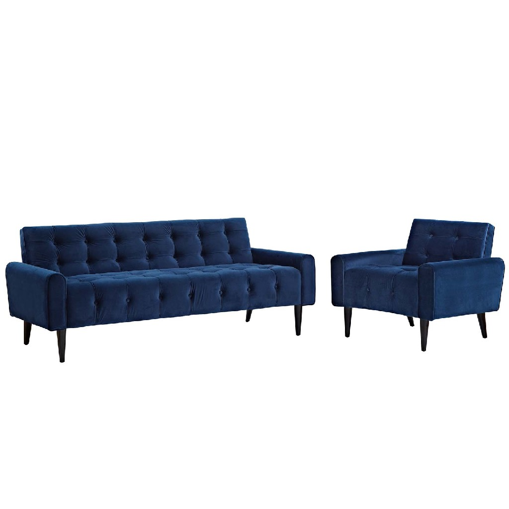 East End Living Room Set Velvet Nav Set