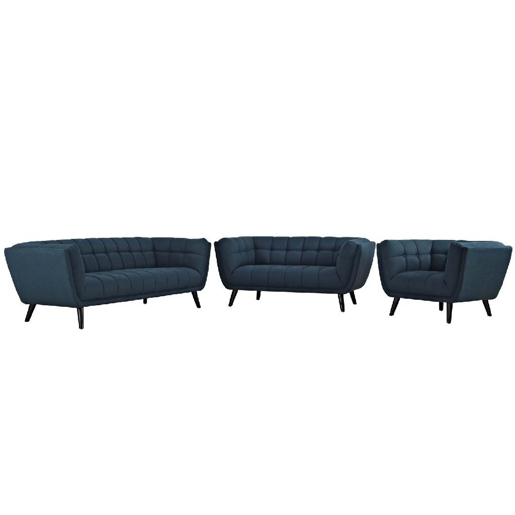 East End Upholstered Fabric Sofa Loveseat Armchair Set Blu Set