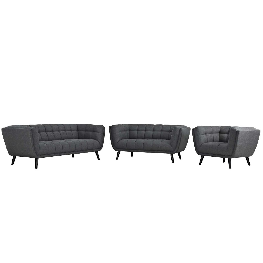 East End Upholstered Fabric Sofa Loveseat Armchair Set Gry Set