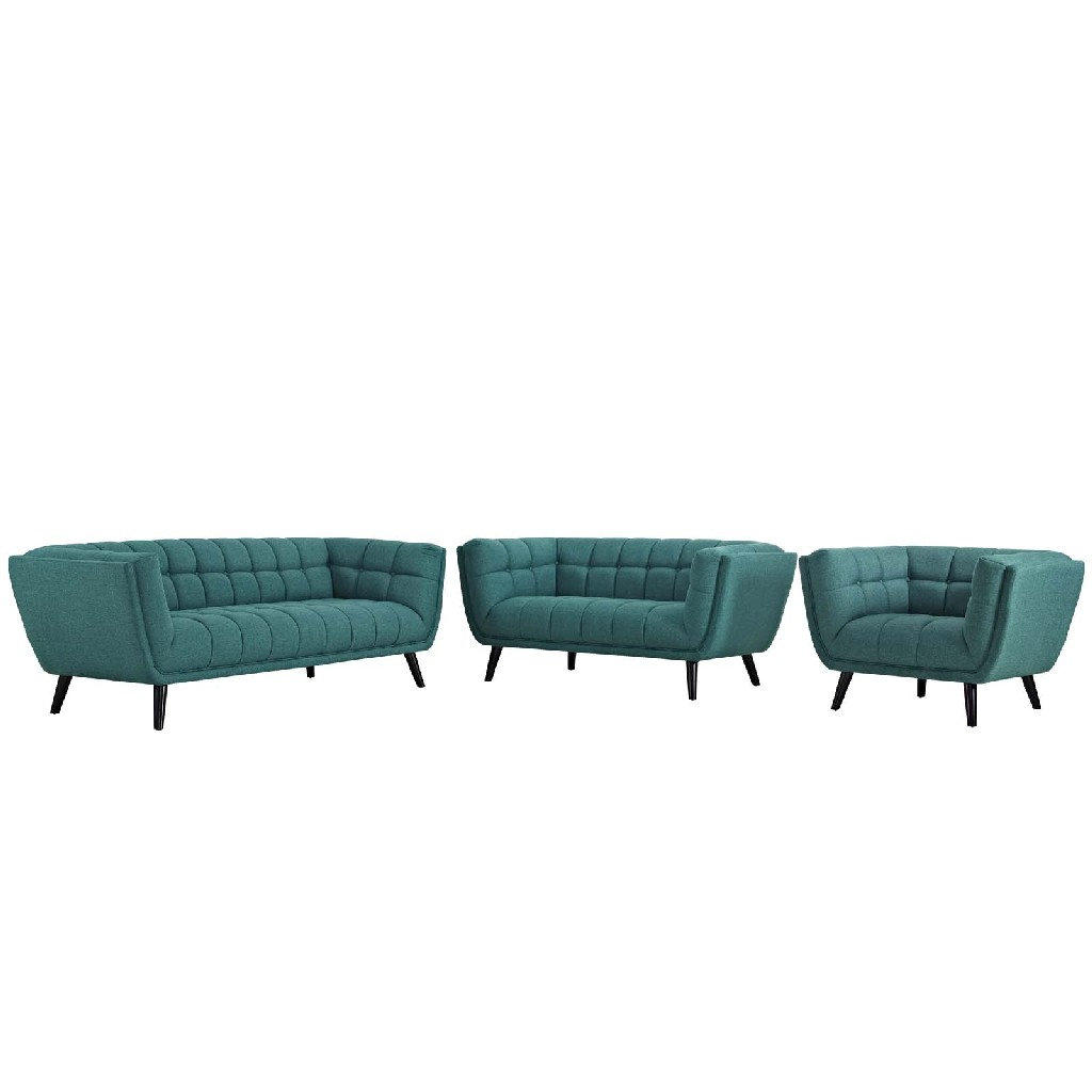East End Upholstered Fabric Sofa Loveseat Armchair Set Tea Set