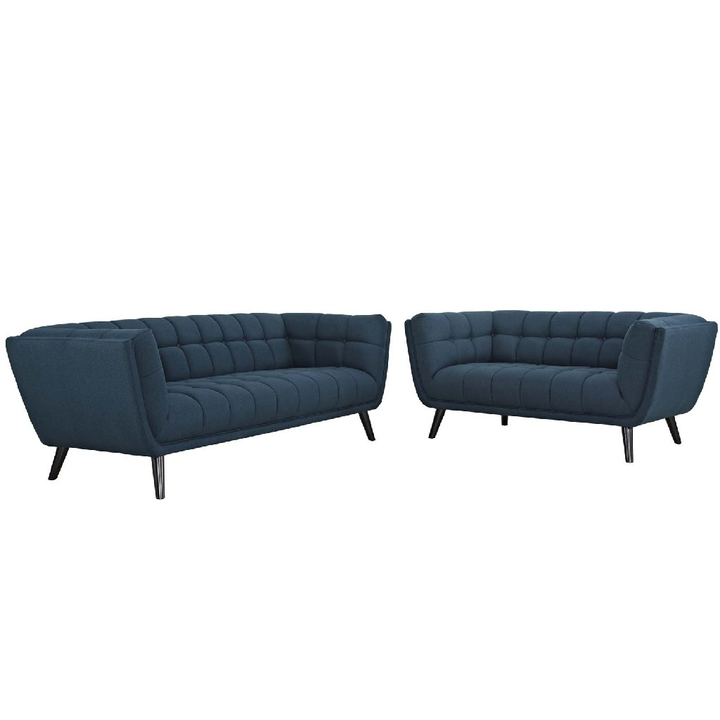 East End Upholstered Fabric Sofa Loveseat Set Blu Set