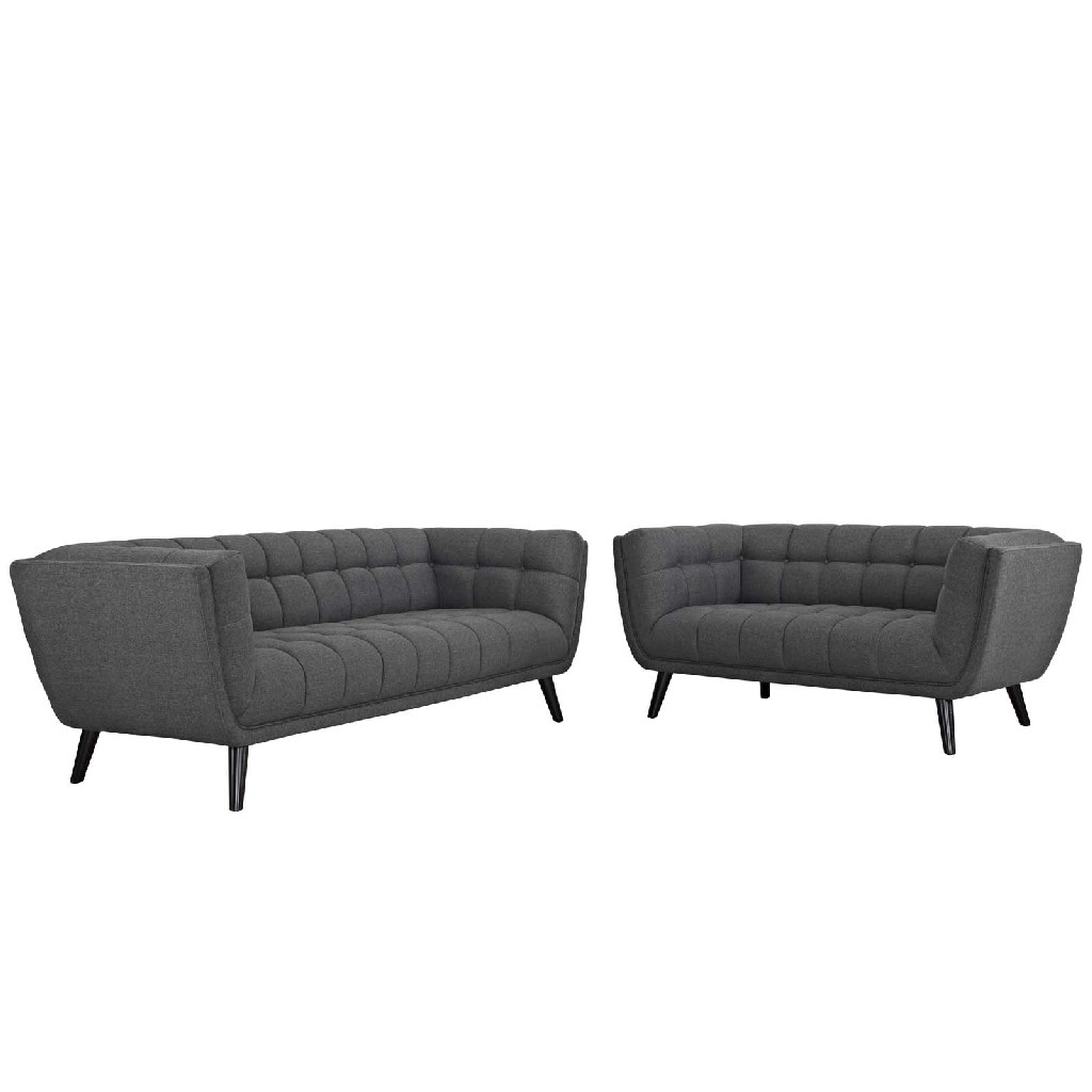 East End Upholstered Fabric Sofa Loveseat Set Gry Set