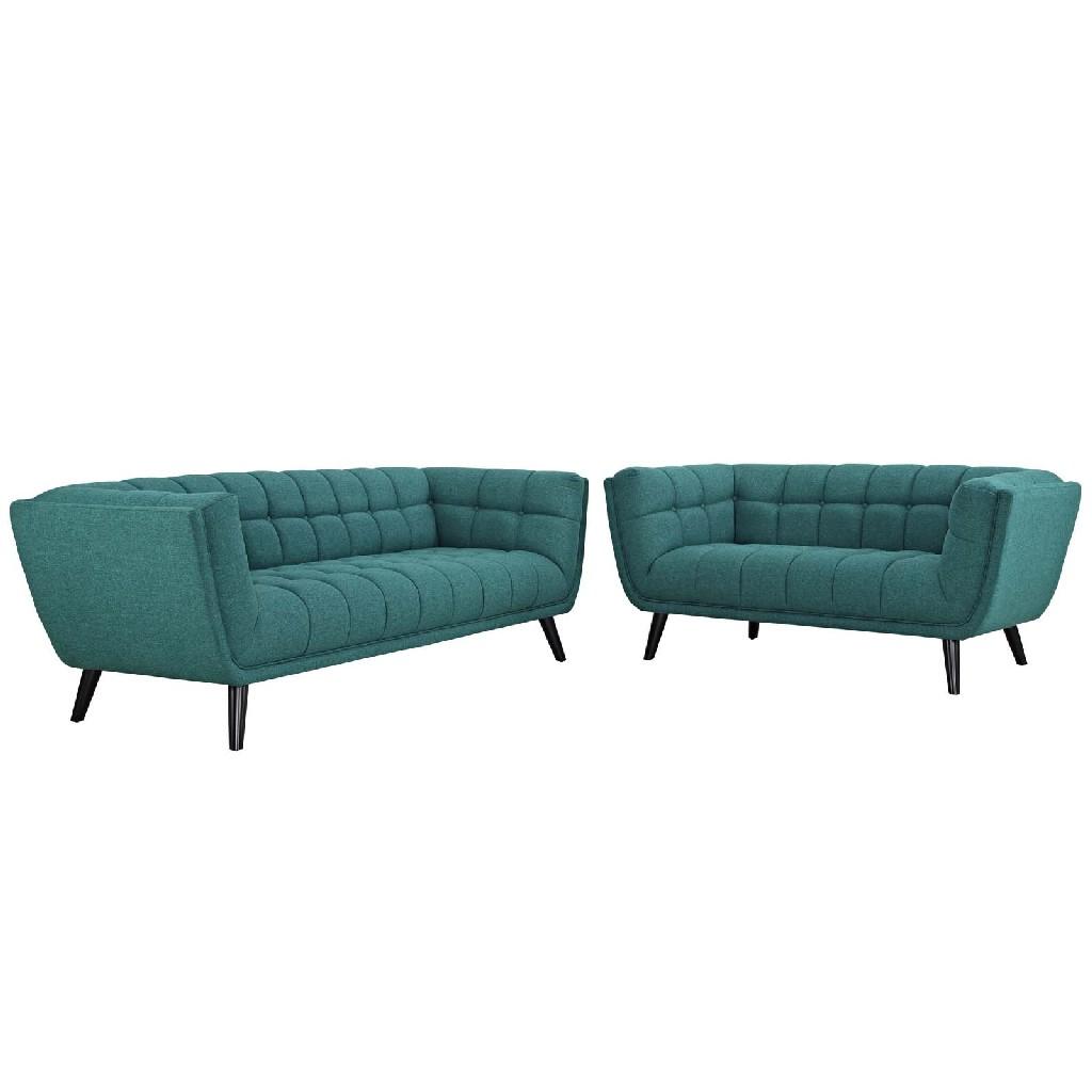 East End Upholstered Fabric Sofa Loveseat Set Tea Set