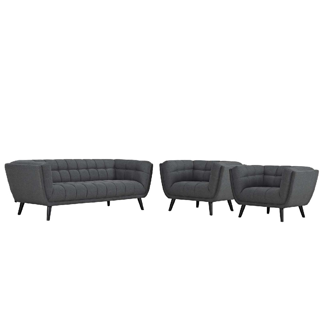 East End Upholstered Fabric Sofa Armchair Set Gry Set