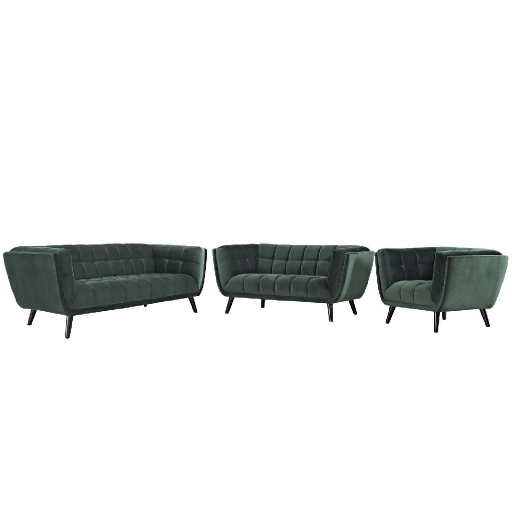 East End Velvet Sofa Loveseat Armchair Set Grn Set