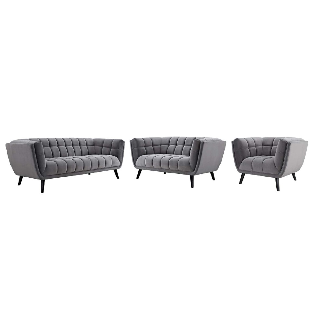 East End Velvet Sofa Loveseat Armchair Set Gry Set