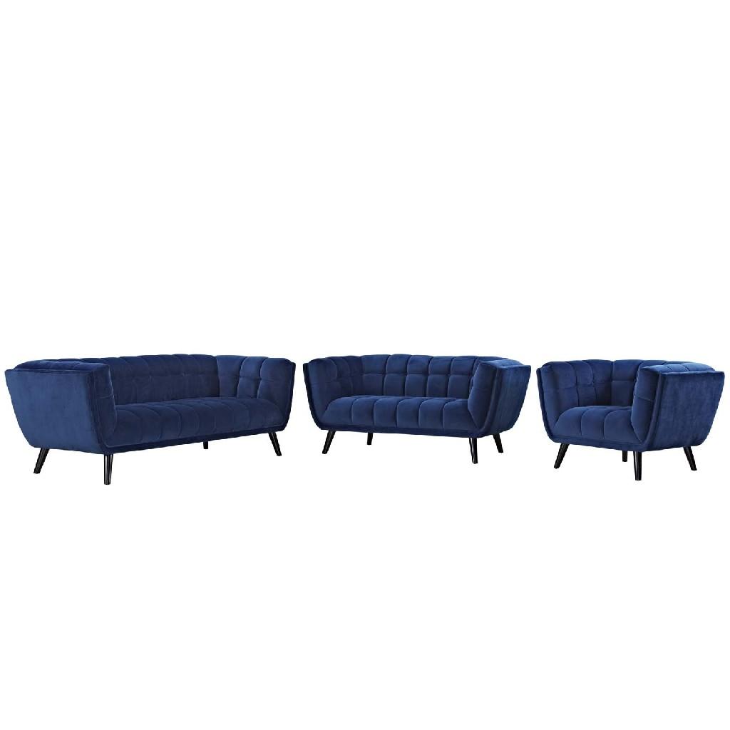 East End Velvet Sofa Loveseat Armchair Set Nav Set